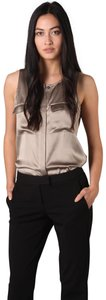 Theory Satin Button Front Sleeveless Perfect Condition Button Down Shirt Beige