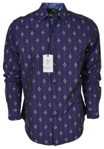Robert Graham Purple Men's Jace Classic Fit Button Down Dress Shirt