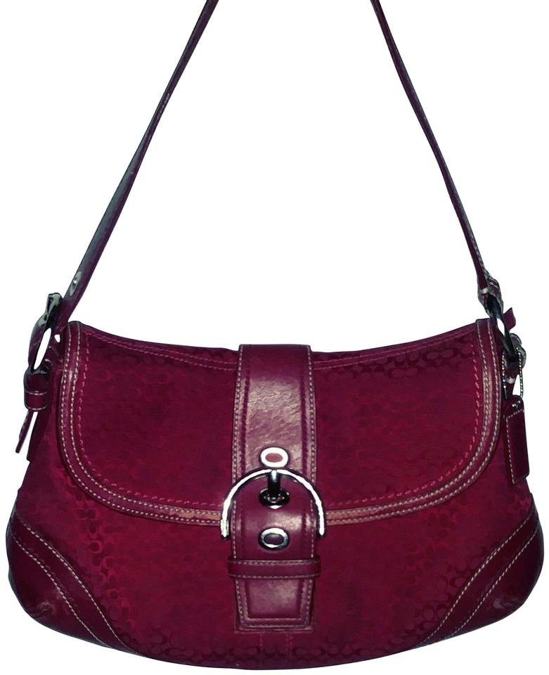 6e476957d421 Coach New Signature Adjustable Red  Red C Logo Jacquard Leather Hobo ...
