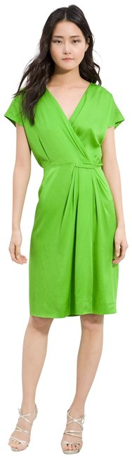 Item - Green - Pleated Silk Faux Wrap Mid-length Work/Office Dress Size 0 (XS)