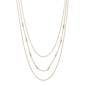 Gorjana 18k Gold Plated CZ Circle 3 Layer Delicate Necklace