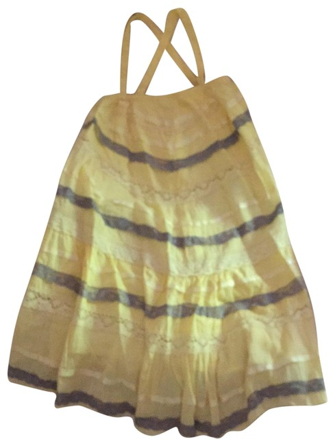 Item - Yellow and Gray Cotton-lace Short Casual Dress Size 8 (M)