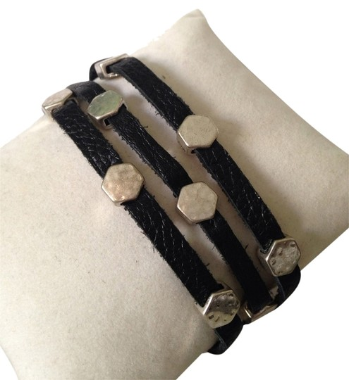 Lucky Brand NWOT Three Leather Strand Silver-Tone Octagon Bracelet