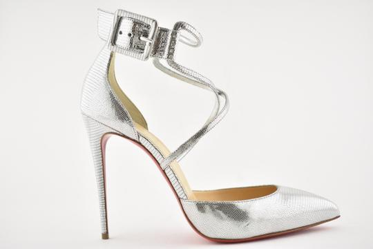 Christian Louboutin Pigalle Stiletto Classic Suzanna Ankle Strap silver Pumps Image 1