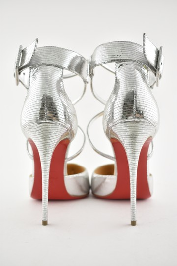 Christian Louboutin Pigalle Stiletto Classic Suzanna Ankle Strap silver Pumps Image 10