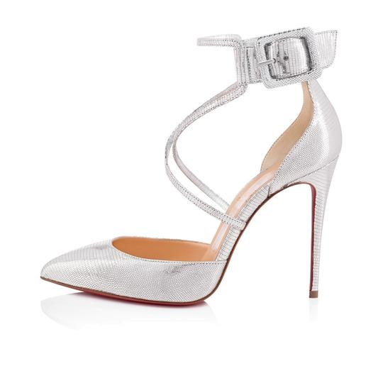 Christian Louboutin Pigalle Stiletto Classic Suzanna Ankle Strap silver Pumps Image 2