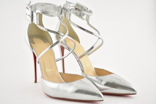 Christian Louboutin Pigalle Stiletto Classic Suzanna Ankle Strap silver Pumps Image 3