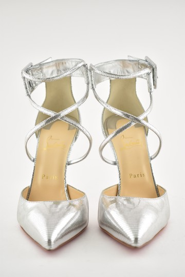 Christian Louboutin Pigalle Stiletto Classic Suzanna Ankle Strap silver Pumps Image 4