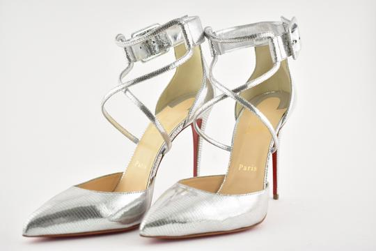 Christian Louboutin Pigalle Stiletto Classic Suzanna Ankle Strap silver Pumps Image 8