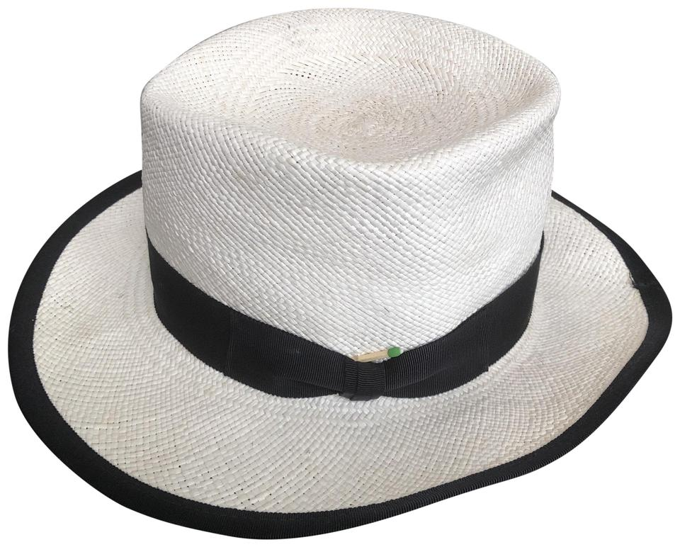 cf64b86eb5ed7b Nick Fouquet White with Black Ribbon Matchstick Hat - Tradesy