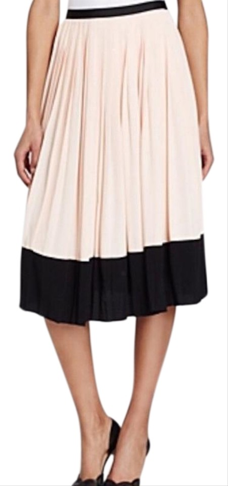 470c052ea Kate Spade Two-tone Pleated Color-blocking Crepe Skirt Pink Image 0 ...