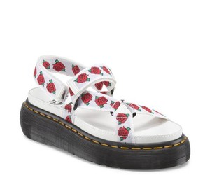 Dr. Martens Leather Velcro Floral Limited Edition White Sandals