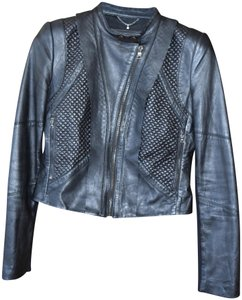 BCBGMAXAZRIA Moto Vegan Collarless Leather Jacket