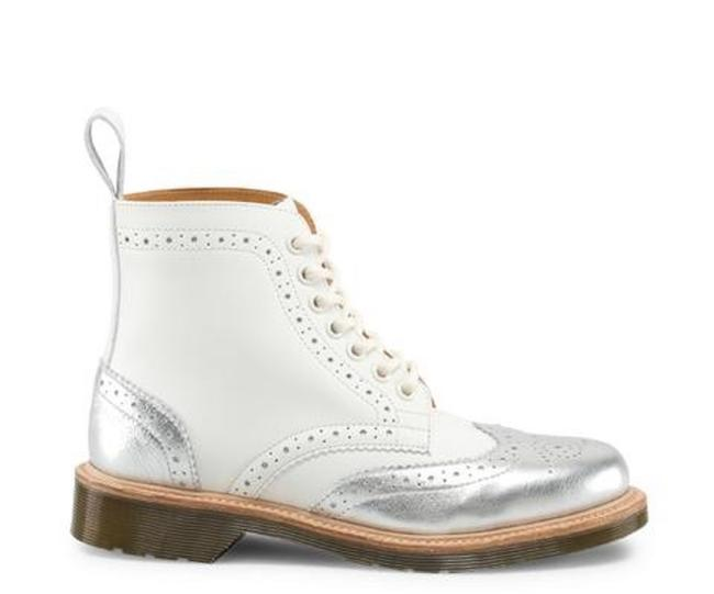 Item - White & Silver Dorsey Limited Edition Mie Brogue Boots/Booties Size US 7 Regular (M, B)