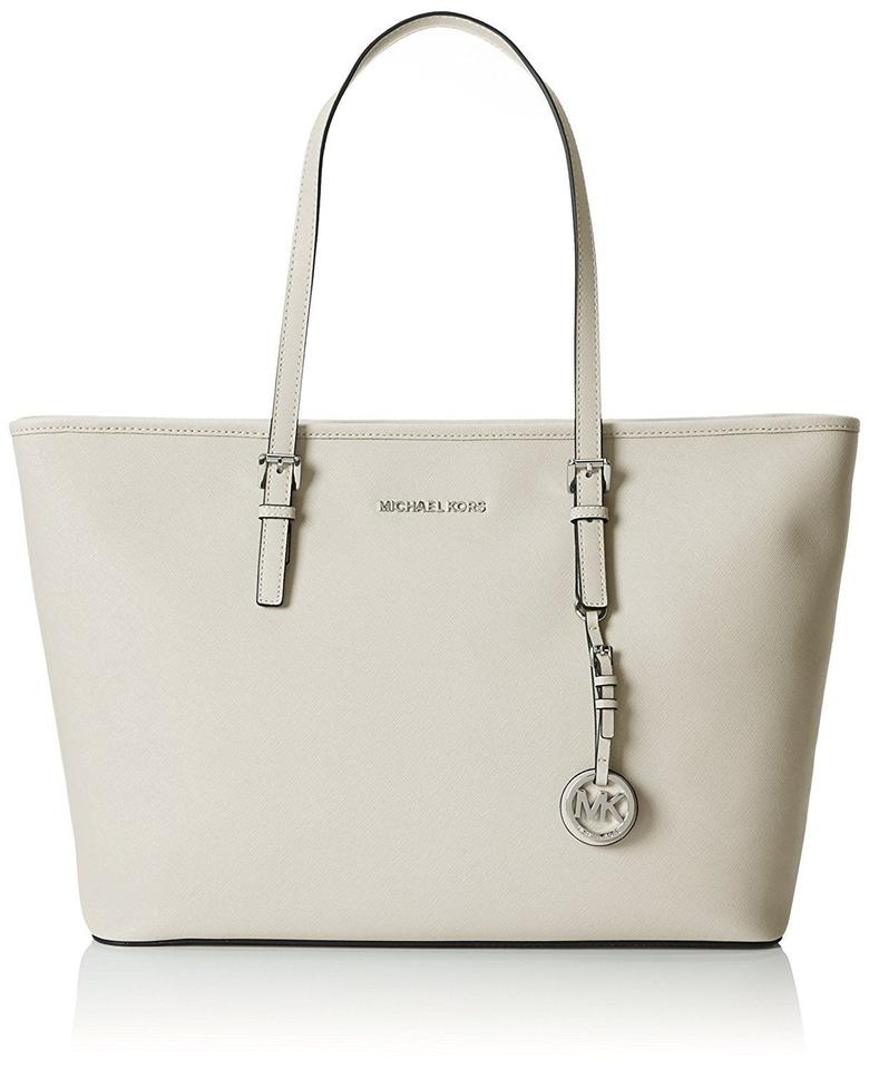 41822c47e553e8 Michael Kors Jet Set Travel Multifunction Medium Large Ipad Shoulder Cement  Light Grey Saffiano Leather Tote