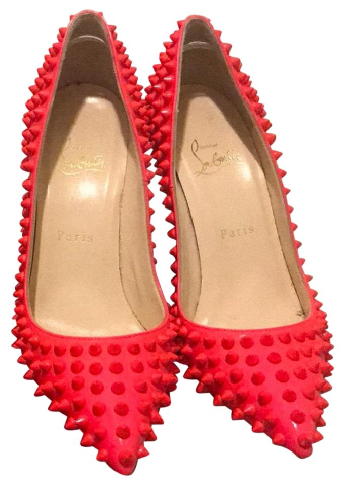 23d81c6757d7 Christian Louboutin Neon Coral Pink Pigalle Spikes 100mm Pumps Size ...