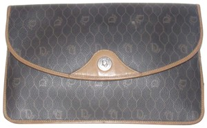 Dior Rare Shape/Style Mint Vintage Edgy Avant Garde Clutch/Cosmetic shades of grey honeycomb print coated canvas and camel leather Clutch