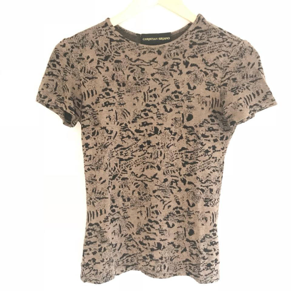 Christian siriano brown printed animal print knit tee for T shirt print dimensions