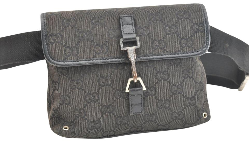 8b5e93152c85 Gucci Black Large G Logo Print Canvas and Black Leather with A Heavy Canvas  Belt and Chrome Accents Bag/Fanny Pack/Designer Wallet