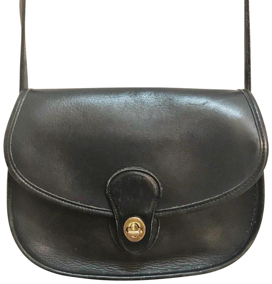 f08c436933c5 Coach Prairie Saddle Vintage 9954 Black Leather Cross Body Bag - Tradesy