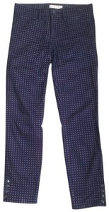 Tory Burch Slim And Flattering At Ankles Slight Stretch Skinny Pants Navy with red detail