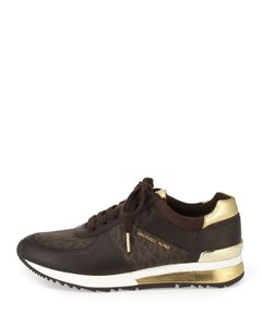 8fe541ca1c99 Michael Kors Hardware Brown and Gold Athletic. Michael Kors Brown and Gold  Allie Wrap Trainers Sneakers Size US ...