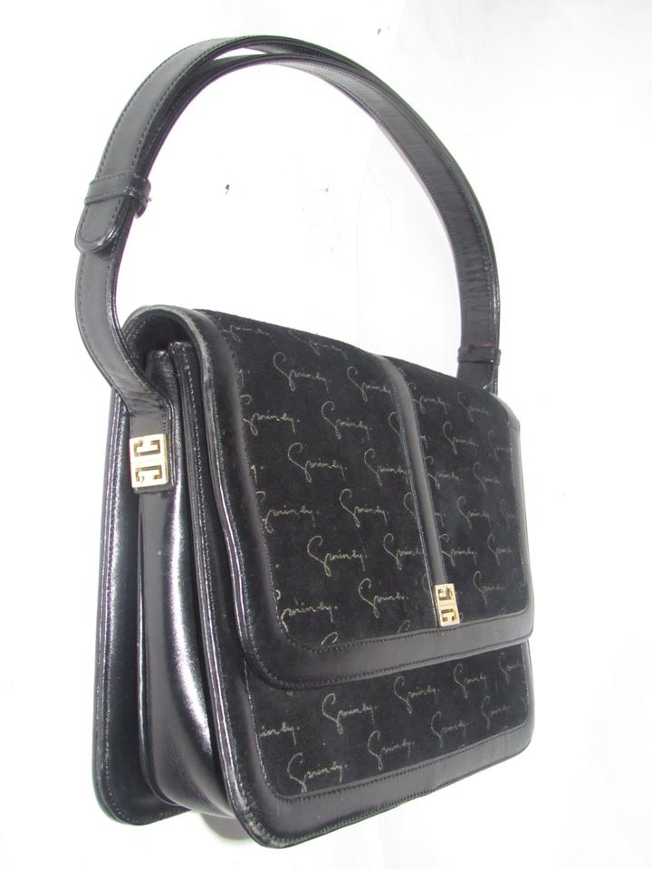 8292fb0d54 Givenchy Vintage Purses Designer Purses Black Suede with Brown Logo ...