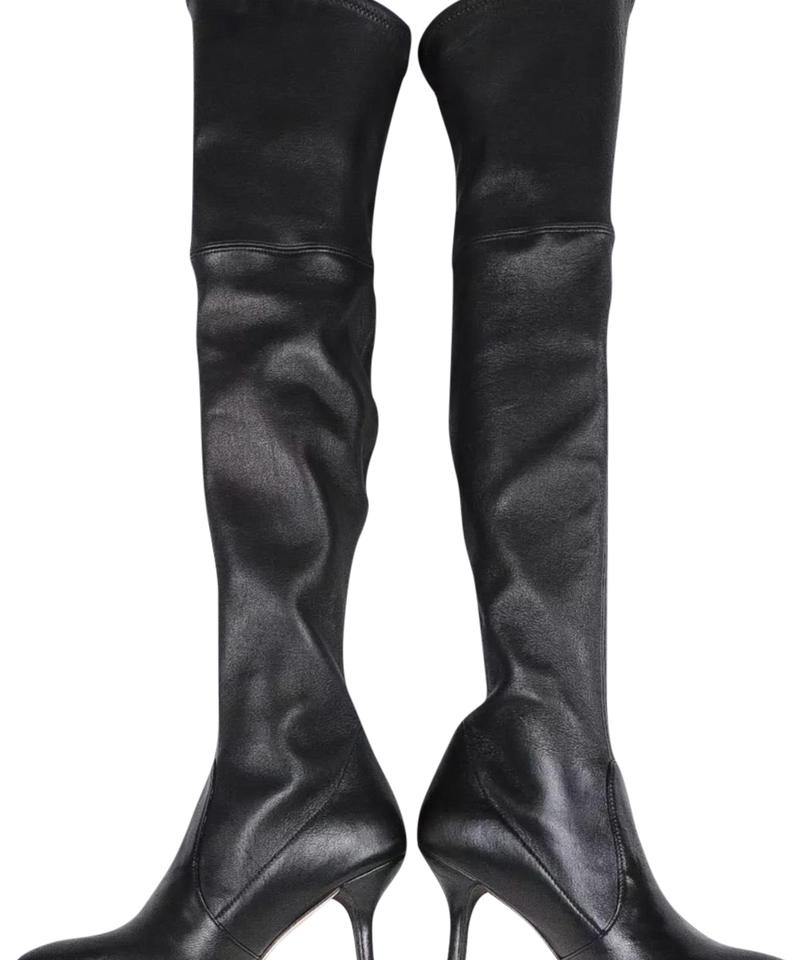 864a9342378a Stuart Weitzman Black Leather Tiemodel Over The Knee Boots Booties ...