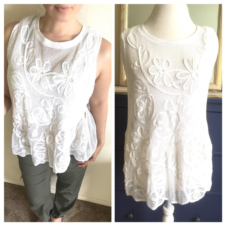 f3aff0802b0c8 Free People White Mesh Embroidered Tank Top Cami Size 12 (L) - Tradesy