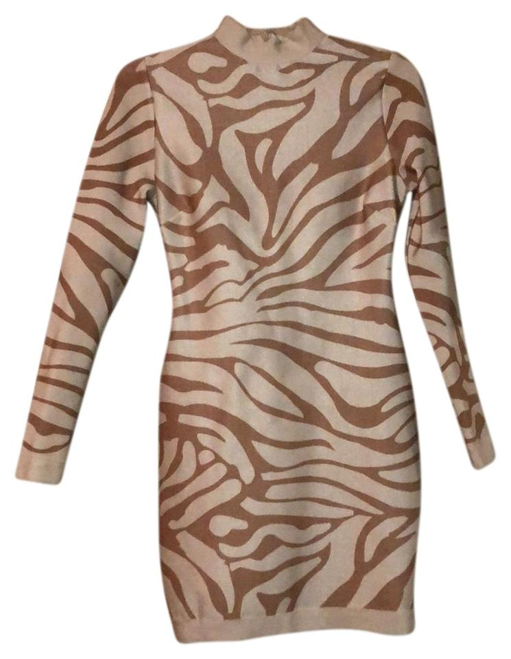 aacdf2a1db Dillard's White Brown Tan Taupe Beige Nude Short Night Out Dress ...
