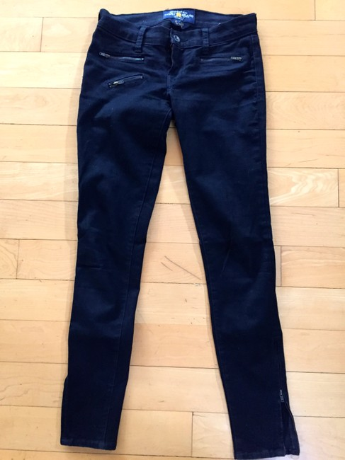 Lucky Brand Zippers Motorcycle Skinny Jeans-Dark Rinse
