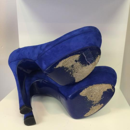 Saint Laurent Yves Palais Suede Navy Royal Tributes Blue Pumps