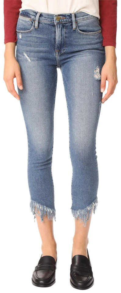 62ee9d62cbc FRAME Blue Le High Shredded Raw Skinny Jeans Size 26 (2, XS) - Tradesy