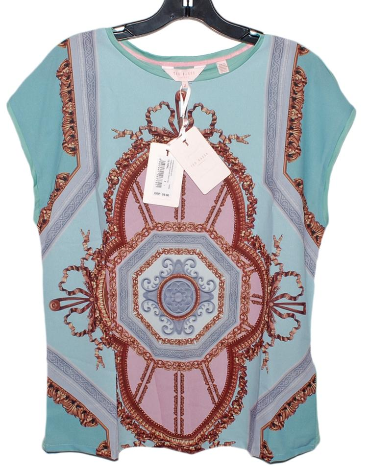 b18eb4be47445 Ted Baker Teal Kollett Versailles Woven Front Tee Shirt Size 6 (S ...