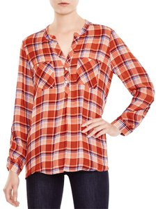 Joie Nelia Plaid Silk Theory Rails Button Down Shirt RED MULTI