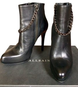 AllSaints All Leather Chain Black Boots