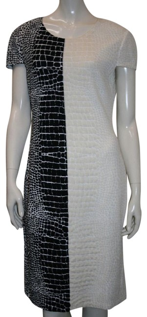 Item - Black and Cream Shift Short Night Out Dress Size 12 (L)