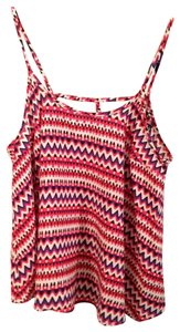 French Atmosphere Geometric Spagetti Strap Top Red , Blue, Black