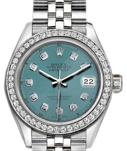 Rolex Ladies 26mm Rolex Datejust with Custom Bezel and Light Blue Dial