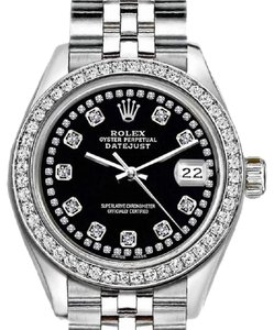 Rolex Ladies 26mm Rolex Datejust with Custom Bezel and Diamond Black Dial