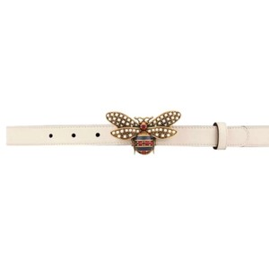 "2b2142e39 Gucci Margaret 36/90 0.8"" Queen Bee Buckle Leather Belts Gold Pearl Ivory  Cream"