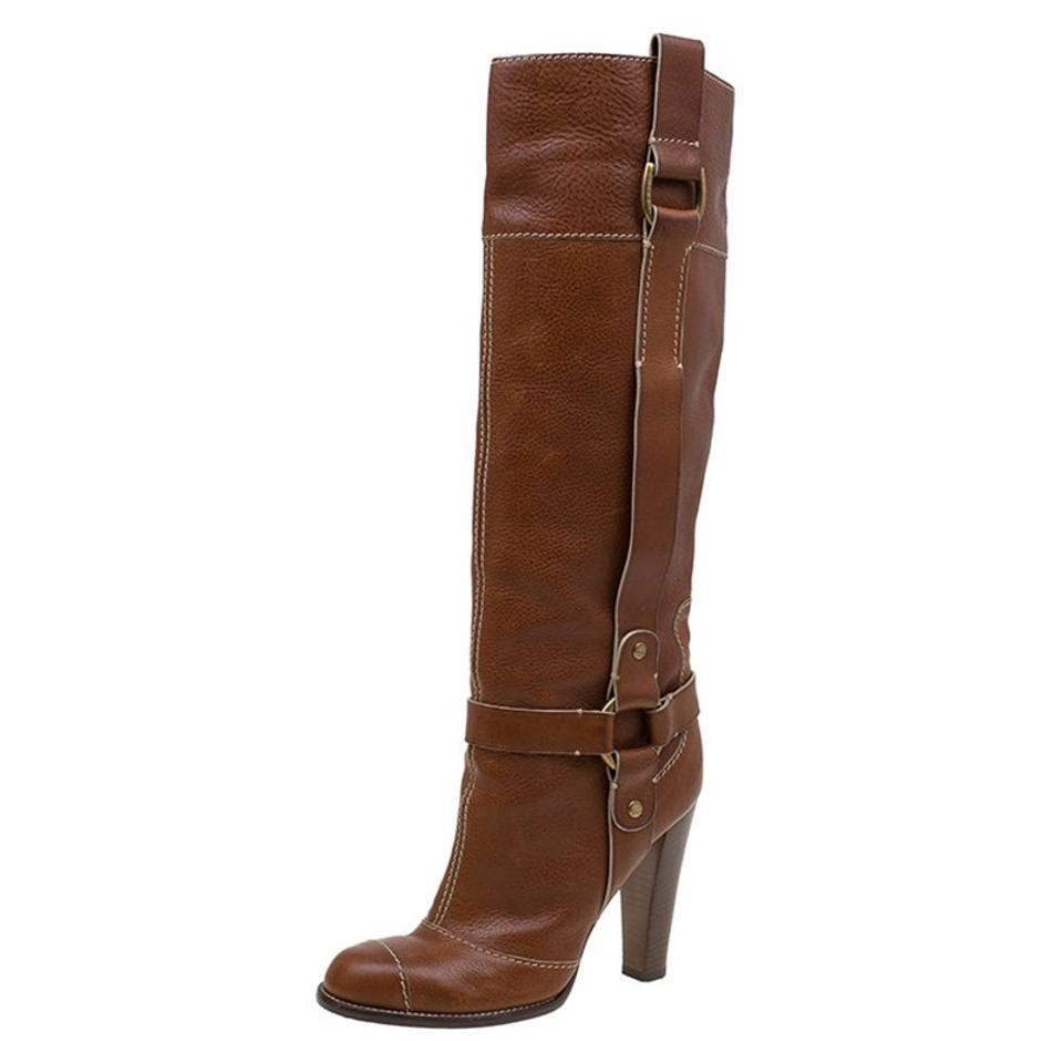 Dolce&Gabbana Brown Leather Leather Brown Riding Knee Boots/Booties 1c6029