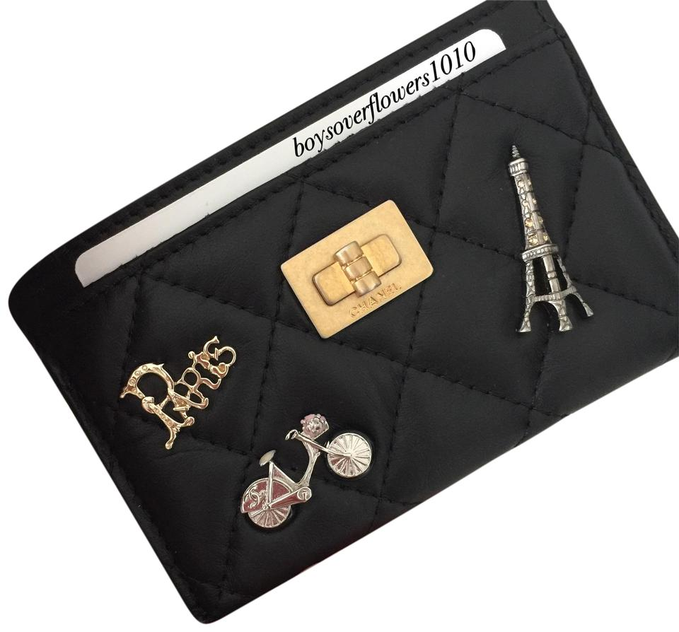 621f881ca8e7 Chanel 18P NEW Lucky Charms Black Aged Calfskin Leather O Card Case Holder  Image 0 ...
