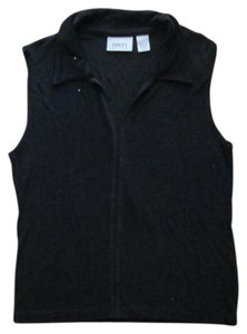 Chico's Slinky Collared Formal Spring Summer Top Black