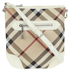 Burberry Plaid Checkered Patent Leather Adjustable Strap Cross Body Bag