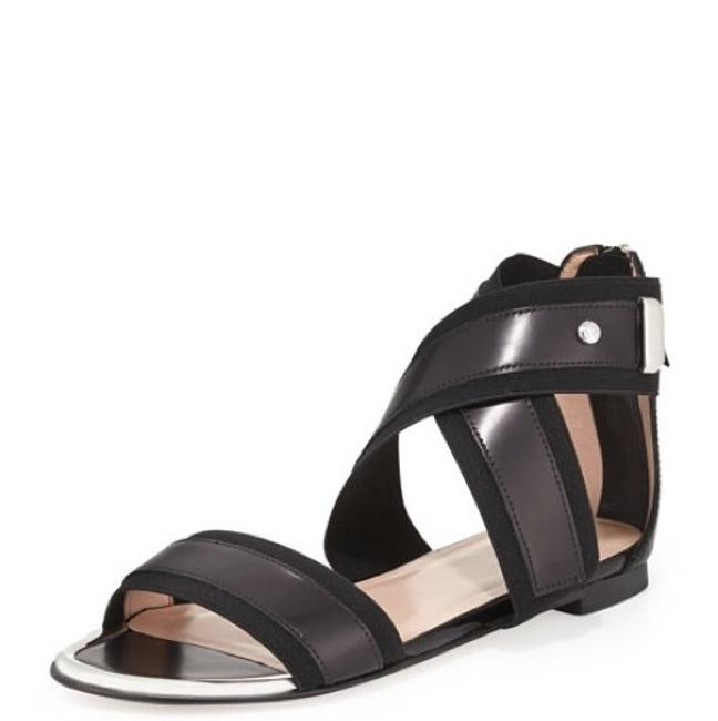 Item - Black Silver Expo Jet with Mirror Toe Detail Sandals Size US 6 Regular (M, B)