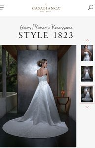 Casablanca White Satin and Bead 1823 Formal Wedding Dress Size 6 (S)
