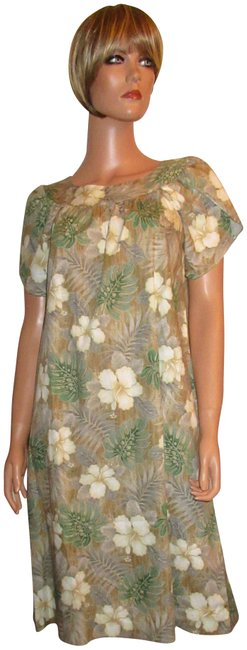 Item - Multicolor New Floral Muu Muu Shift Cotton Made In Hawaii Mid-length Short Casual Dress Size 2 (XS)