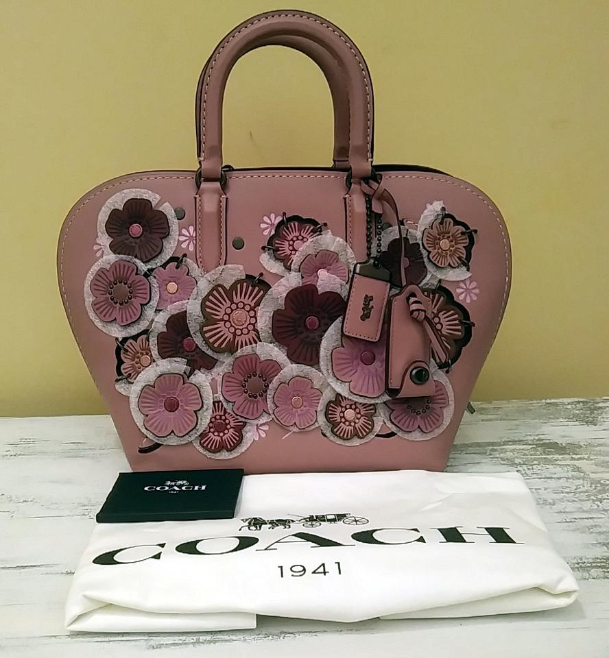 1941 Leather Pink Tea 22 Rose Coach Satchel with Linked Dakotah 1U44wS