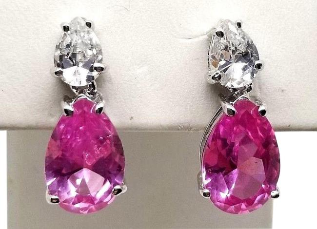 Item - Pink Platinum Plated Sterling Silver 6cttw Pear White Cz Earrings